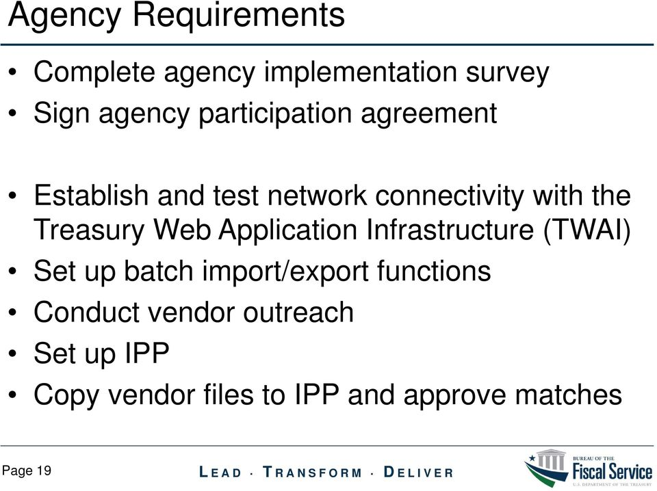 Treasury Web Application Infrastructure (TWAI) Set up batch import/export