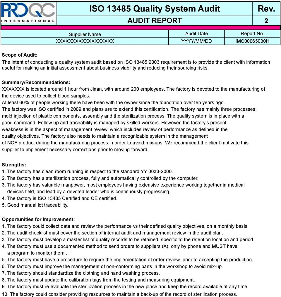 ISO Audit Report. * Example Report * - PDF