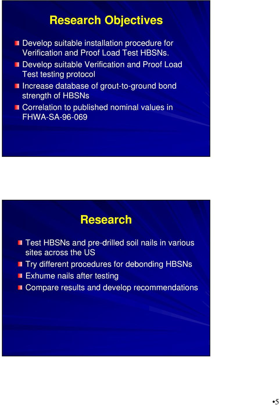 HBSNs Correlation to published nominal values in FHWA-SA-96-069 Research Test HBSNs and pre-drilled soil nails in