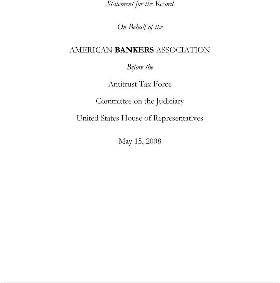 Antitrust Tax Force Committee on the