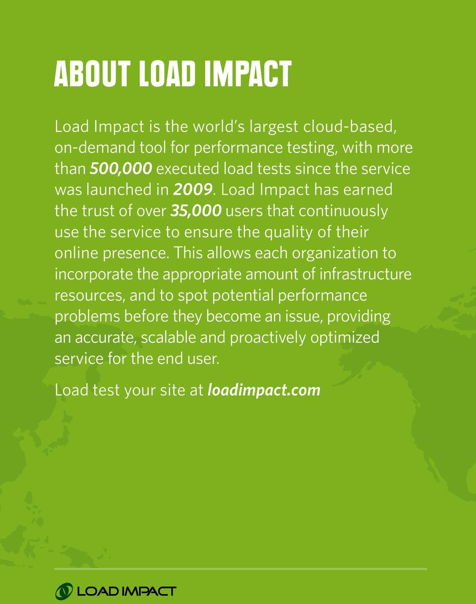 Load Impact has earned the trust of over 35,000 users that continuously use the service to ensure the quality of their online presence.