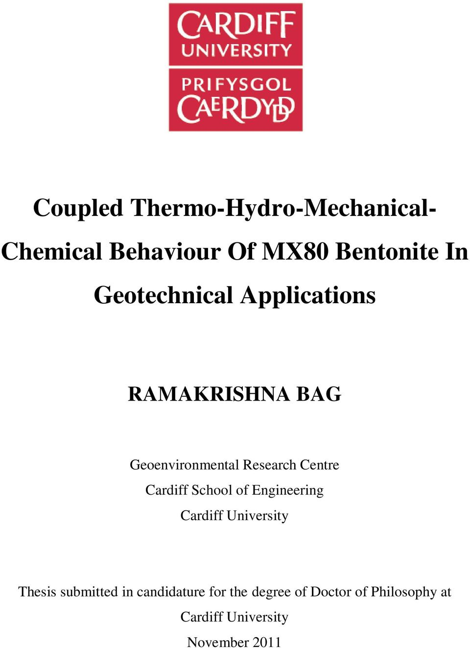 Cardiff School of Engineering Cardiff University Thesis submitted in