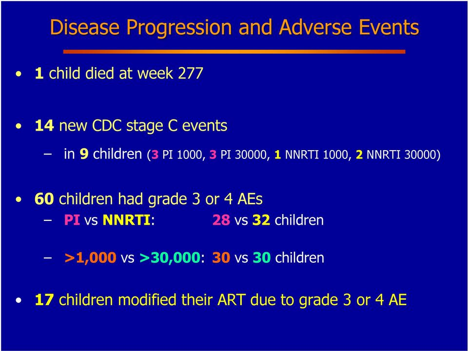 children had grade 3 or 4 AEs vs : 28 vs 32 children >1,000 vs >30,000: