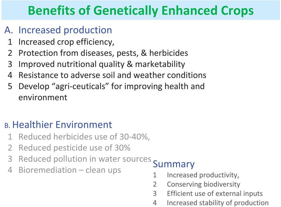 Resistance to adverse soil and weather conditions 5 Develop agri ceuticals for improving health and environment B.