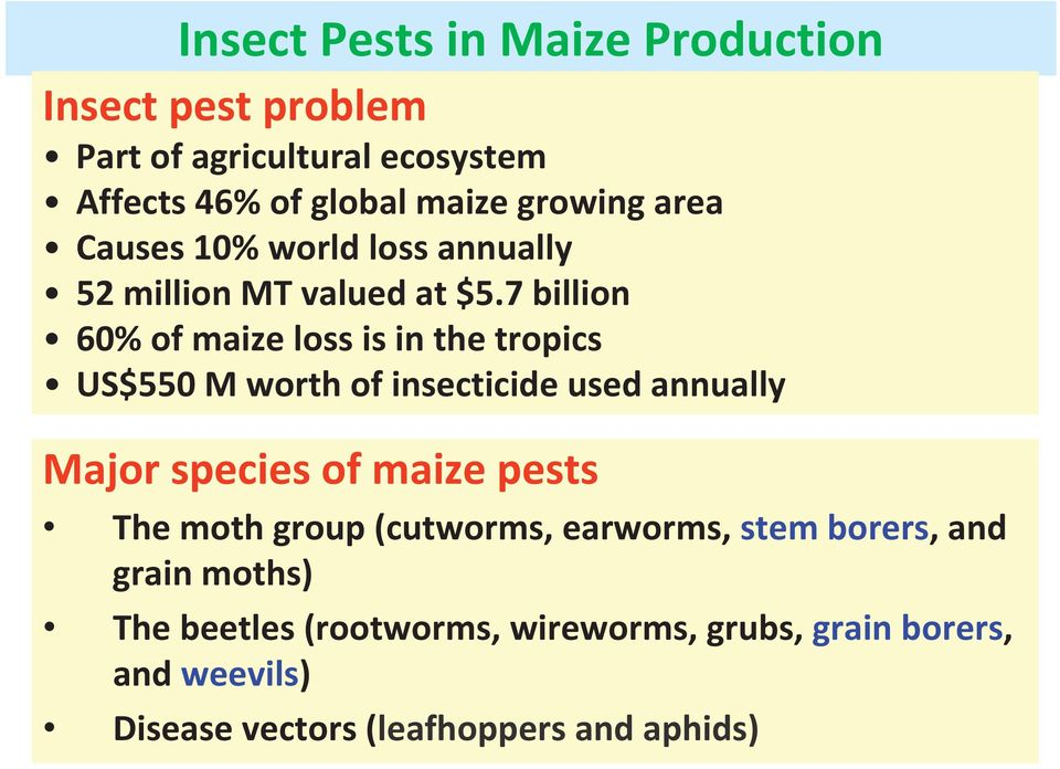 7 billion 60% of maize loss is in the tropics US$550 M worth of insecticide used annually Major species of maize pests