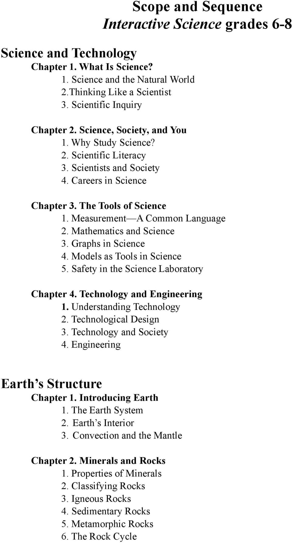Mathematics and Science 3. Graphs in Science 4. Models as Tools in Science 5. Safety in the Science Laboratory Chapter 4. Technology and Engineering 1. Understanding Technology 2.