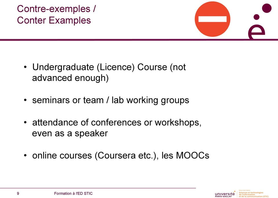 / lab working groups attendance of conferences or