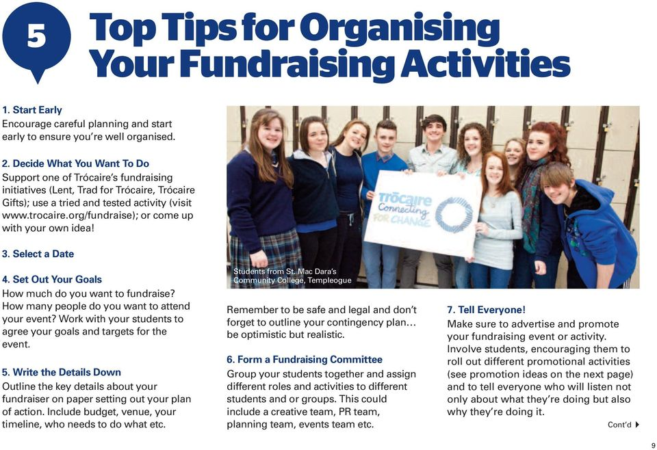 org/fundraise); or come up with your own idea! 3. Select a Date 4. Set Out Your Goals How much do you want to fundraise? How many people do you want to attend your event?