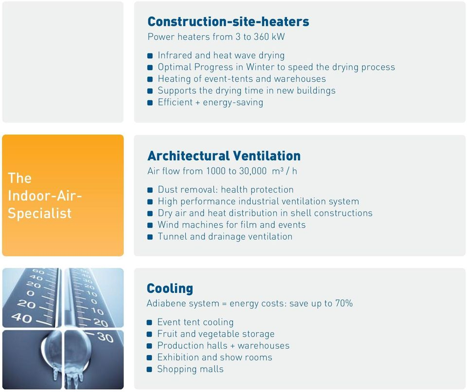 removal: health protection High performance industrial ventilation system Dry air and heat distribution in shell constructions Wind machines for film and events Tunnel and