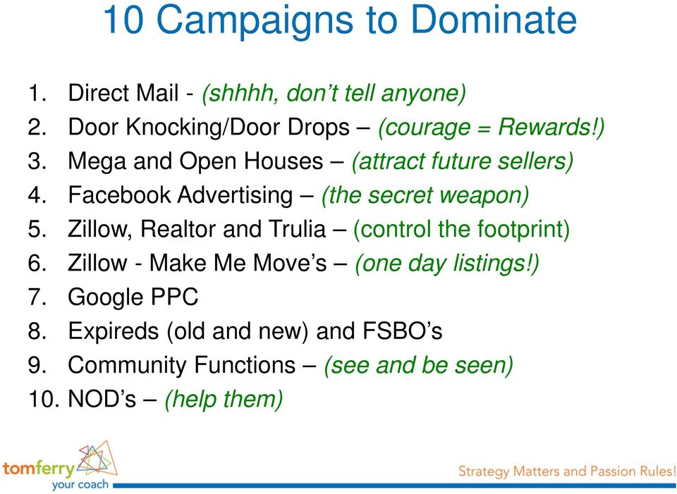 Facebook Advertising (the secret weapon) 5. Zillow, Realtor and Trulia (control the footprint) 6.