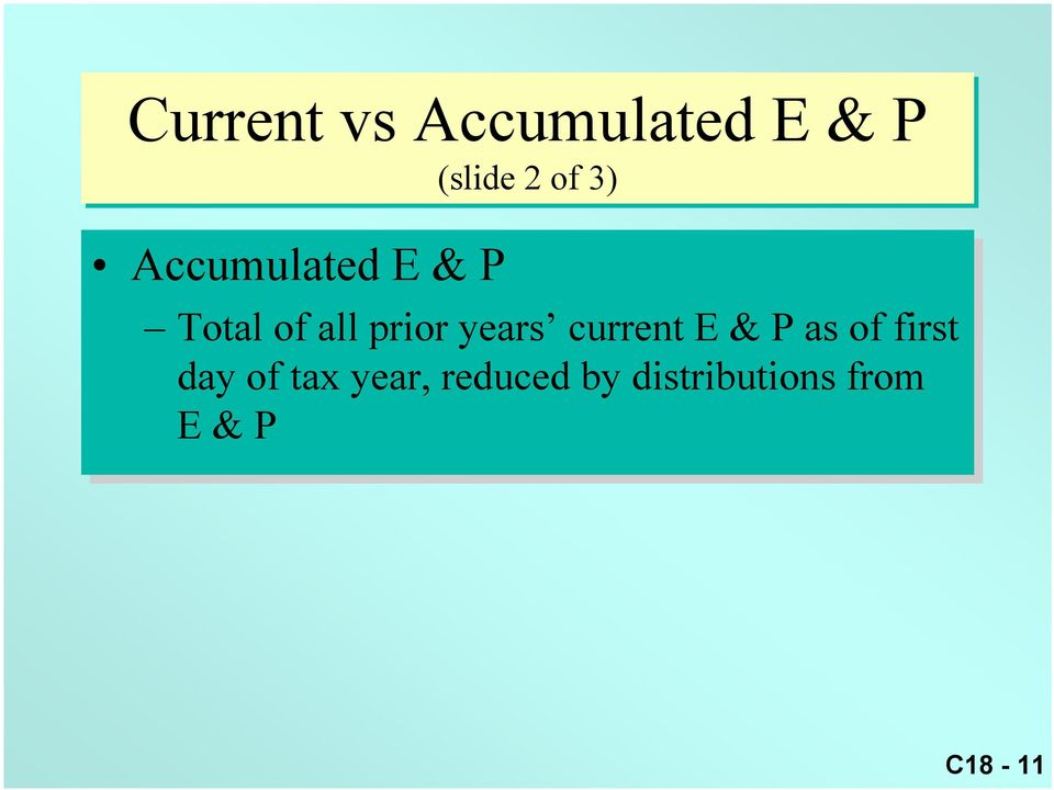 current E & P as as of of first day of of tax