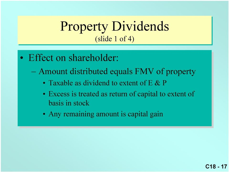 extent of of E & P Excess is is treated as as return of of capital to