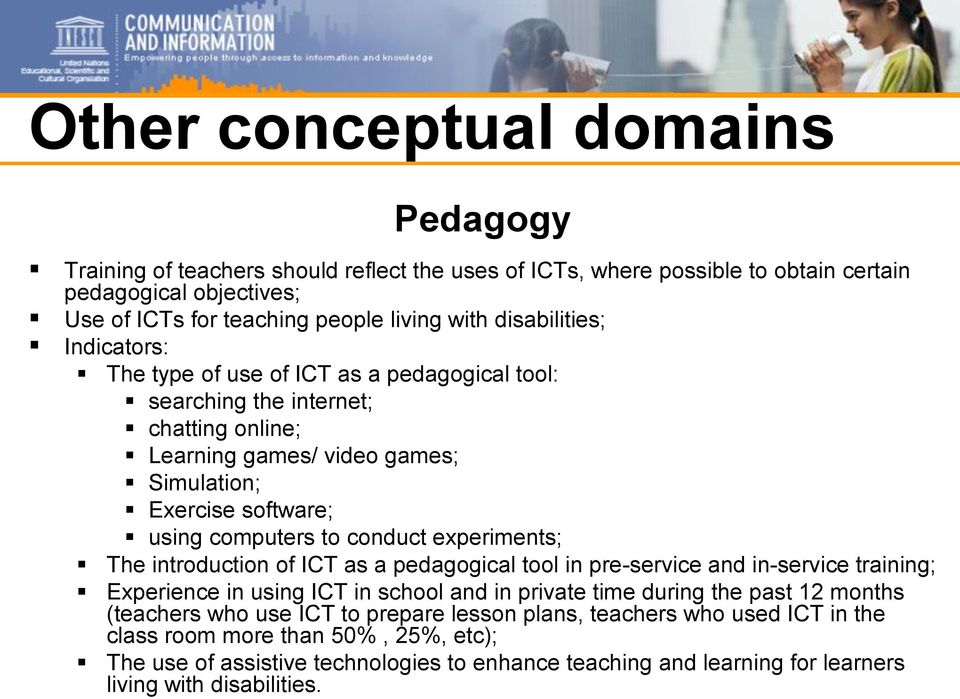 conduct experiments; The introduction of ICT as a pedagogical tool in pre-service and in-service training; Experience in using ICT in school and in private time during the past 12 months (teachers