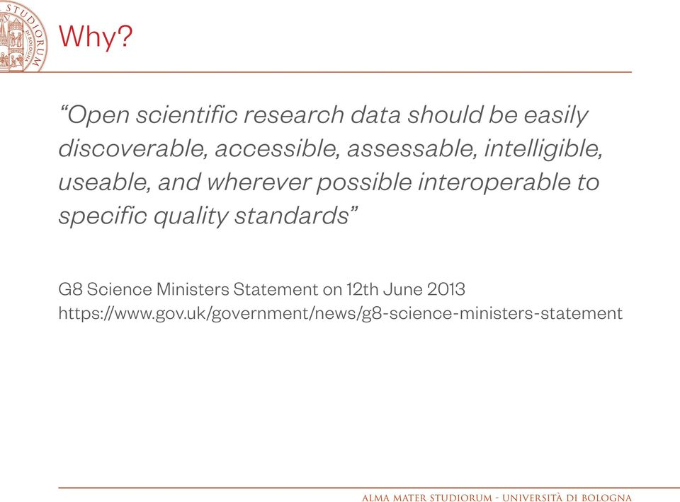 interoperable to specific quality standards G8 Science Ministers