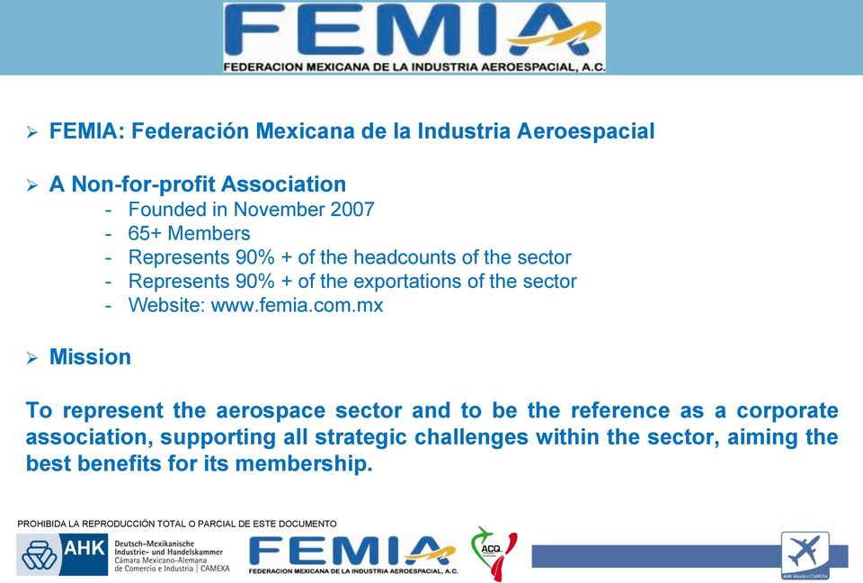 the sector - Website: www.femia.com.