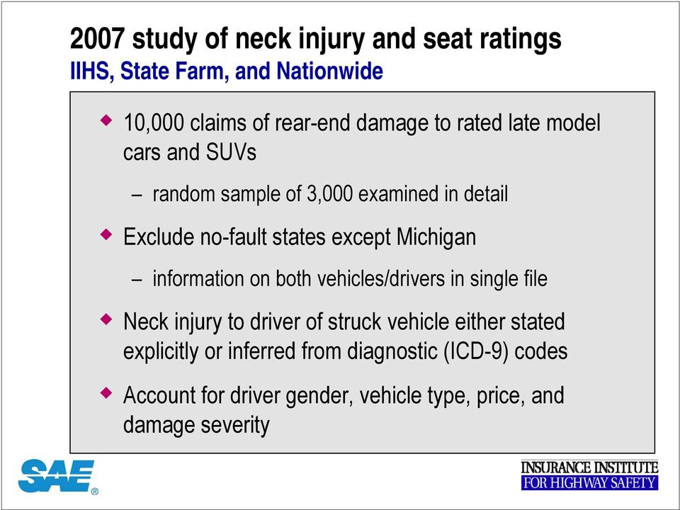 Michigan information on both vehicles/drivers in single file Neck injury to driver of struck vehicle either