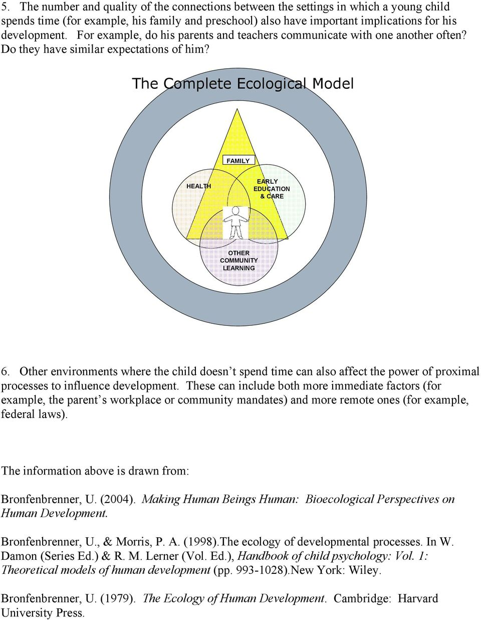 The Complete Ecological Model FAMILY HEALTH EARLY EDUCATION & CARE OTHER COMMUNITY LEARNING 6.