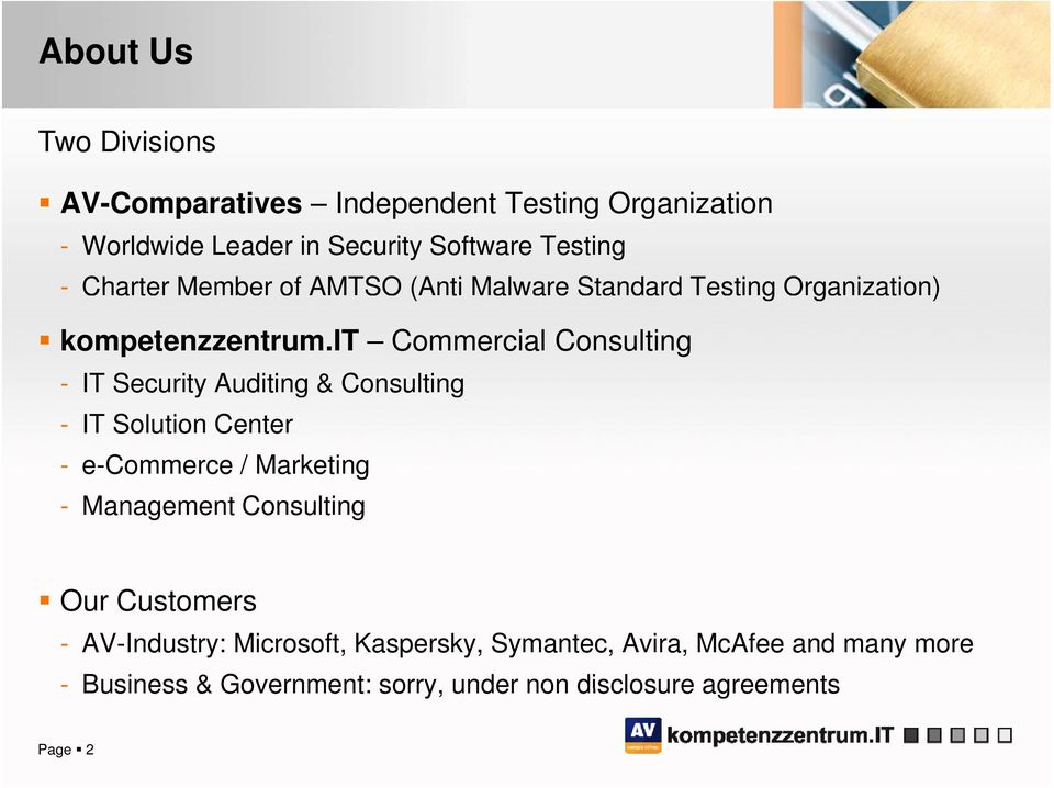it Commercial Consulting - IT Security Auditing & Consulting - IT Solution Center - e-commerce / Marketing - Management