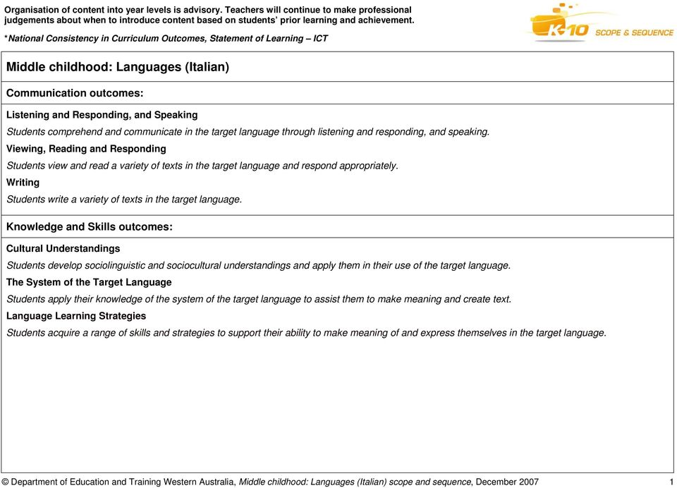 Knowledge and Skills outcomes: Cultural Understandings Students develop sociolinguistic and sociocultural understandings and apply them in their use of the target language.
