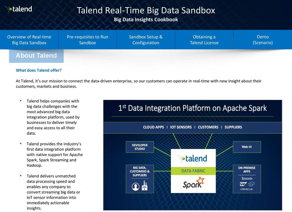 Talend helps companies with big data challenges with the most advanced big data integration platform, used by businesses to deliver timely and easy access to all their data.