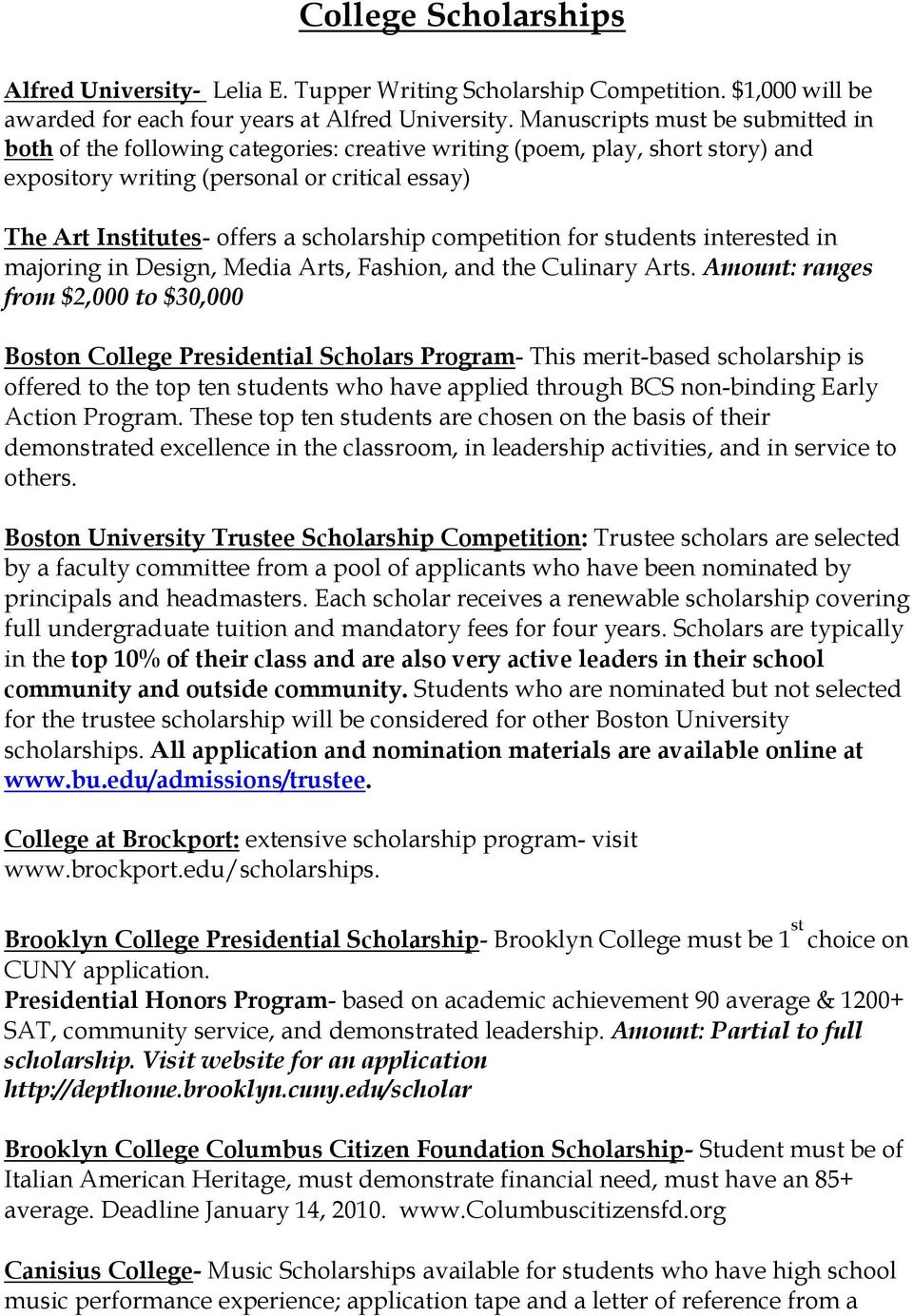 scholarship competition for students interested in majoring in Design, Media Arts, Fashion, and the Culinary Arts.