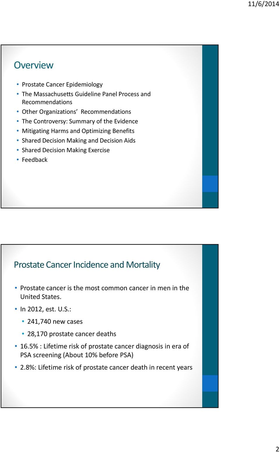 Cancer Incidence and Mortality Prostate cancer is the most common cancer in men in the United States. In 2012, est. U.S.: 241,740 new cases 28,170 prostate cancer deaths 16.