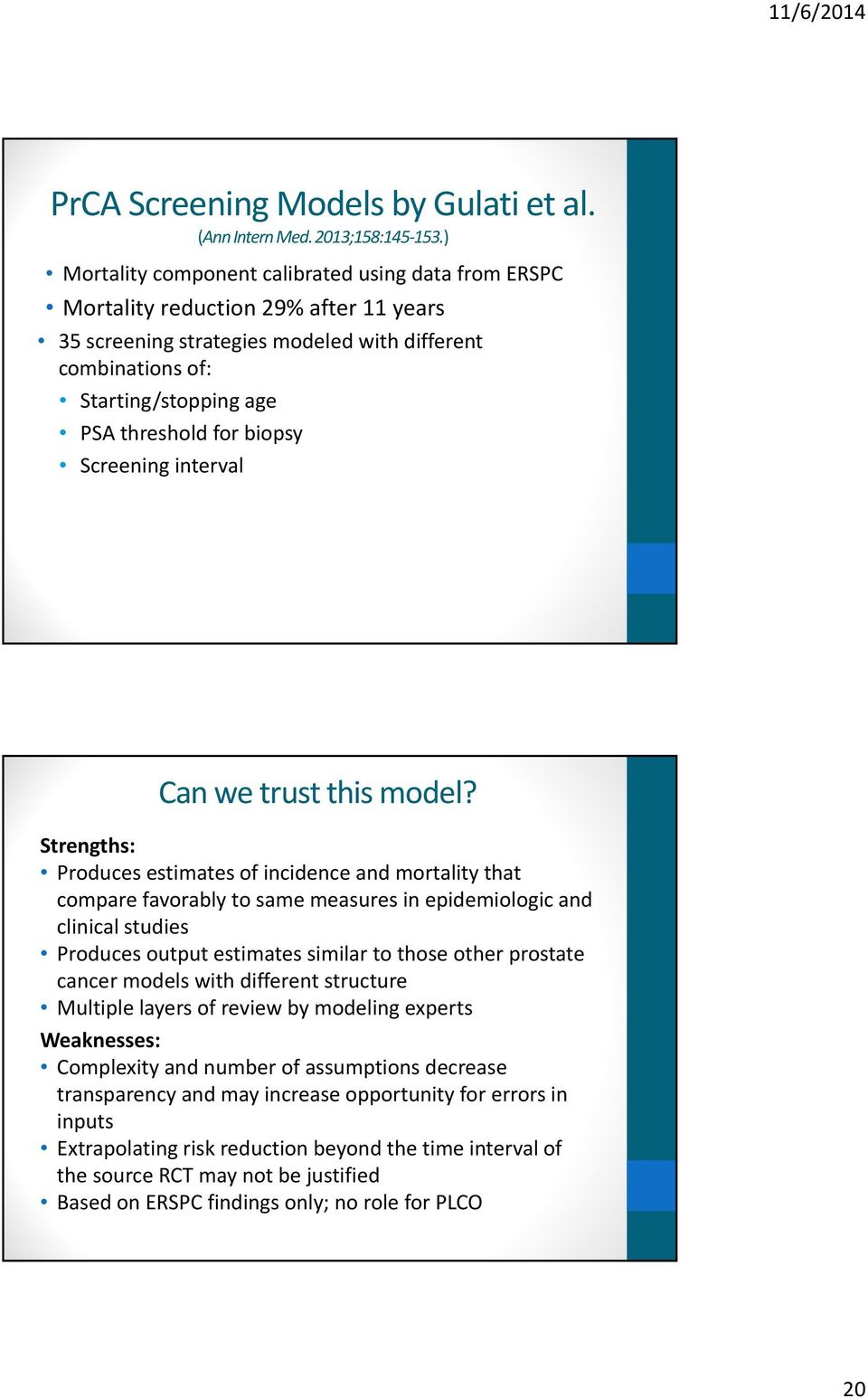 biopsy Screening interval Can we trust this model?