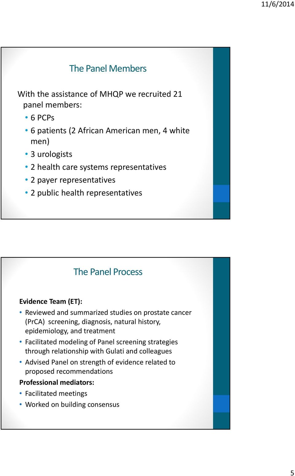 cancer (PrCA) screening, diagnosis, natural history, epidemiology, and treatment Facilitated modeling of Panel screening strategies through relationship with