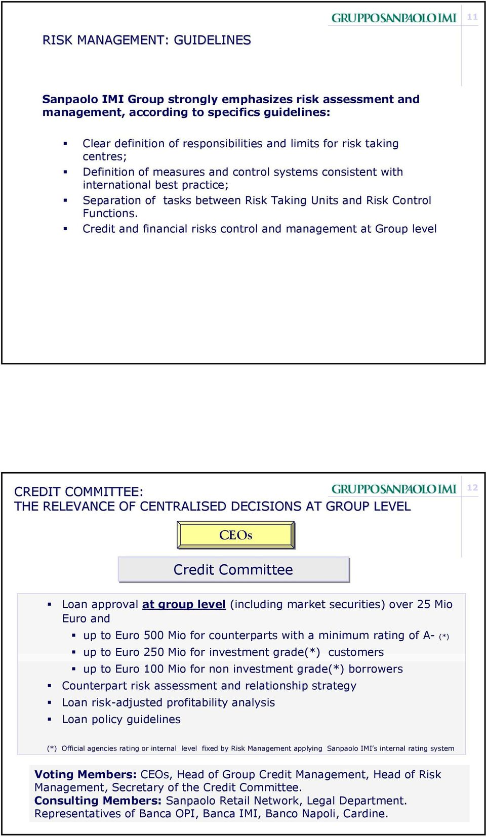 Credit and financial risks control and management at Group level CREDIT COMMITTEE: THE RELEVANCE OF CENTRALISED DECISIONS AT GROUP LEVEL 12 CEOs Credit Committee Loan approval at group level