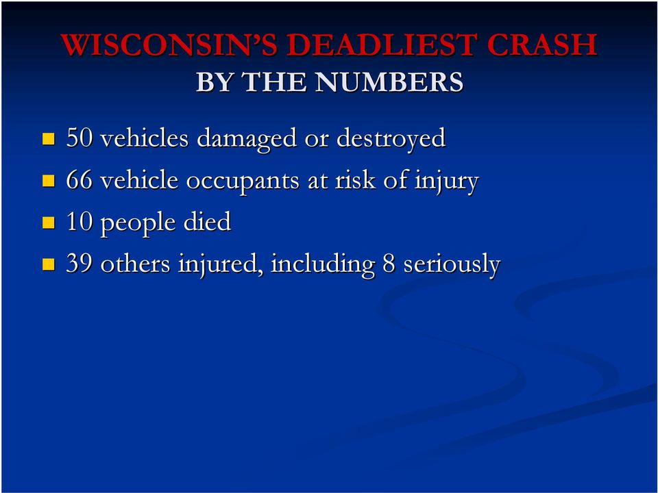 66 vehicle occupants at risk of injury 10