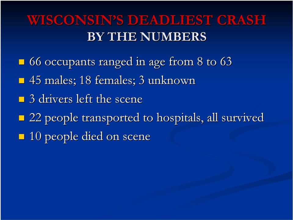 females; 3 unknown 3 drivers left the scene 22 people