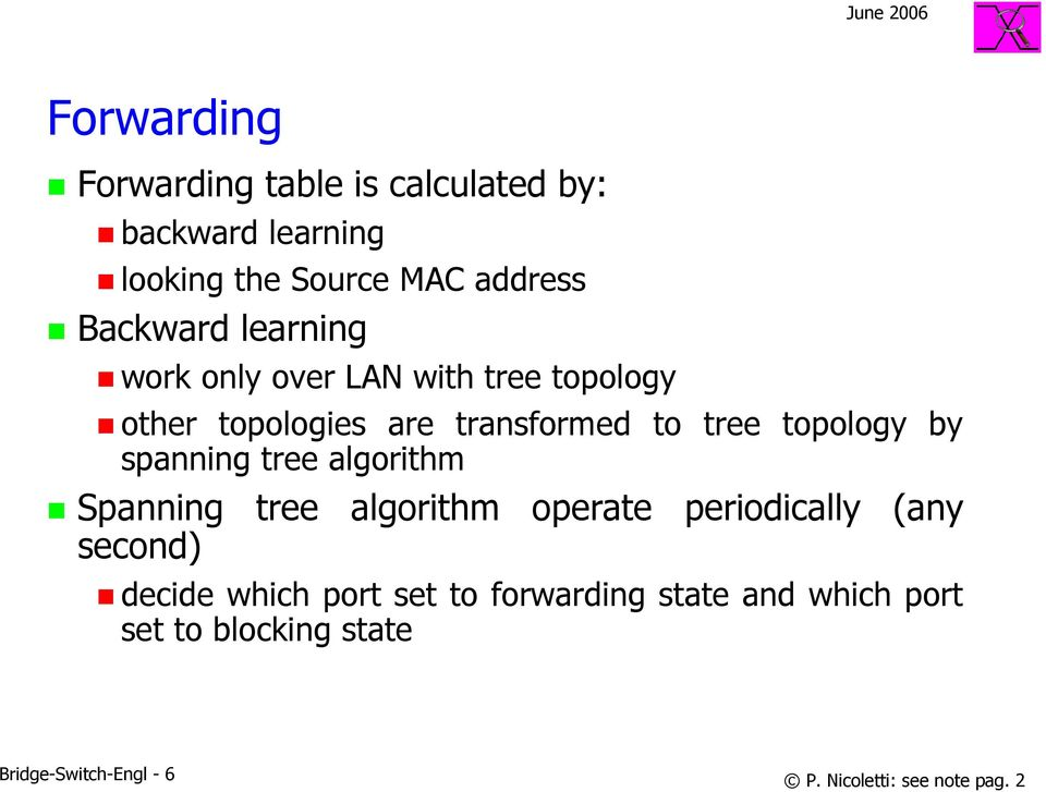 spanning tree algorithm Spanning tree algorithm operate periodically (any second) decide which port set