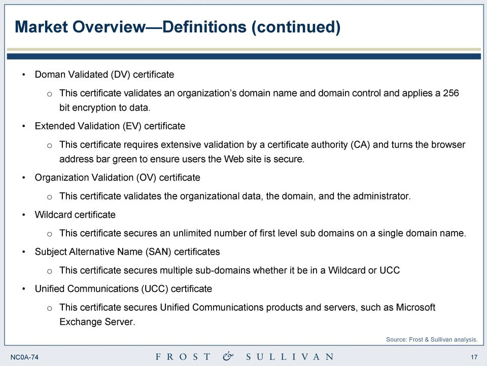 Organization Validation (OV) certificate o This certificate validates the organizational data, the domain, and the administrator.