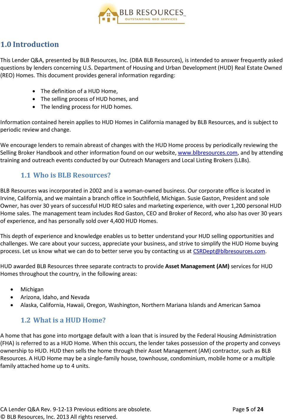 lender q&a. a guide to lending on hud homes in california. revised - pdf