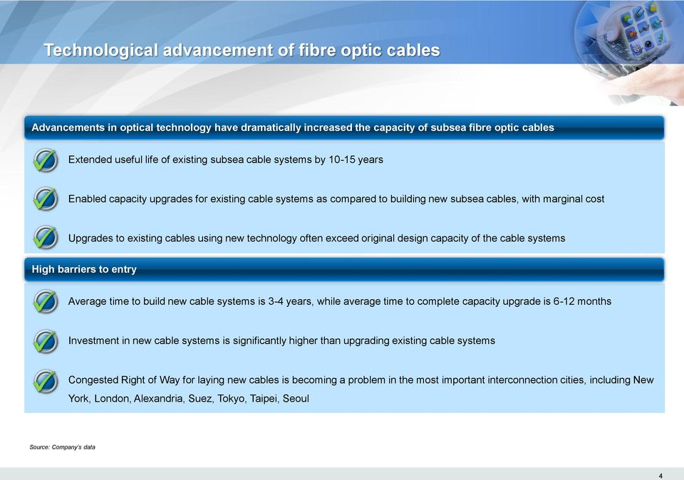 original design capacity of the cable systems High barriers to entry Average time to build new cable systems is 3-4 years, while average time to complete capacity upgrade is 6-12 months Investment in