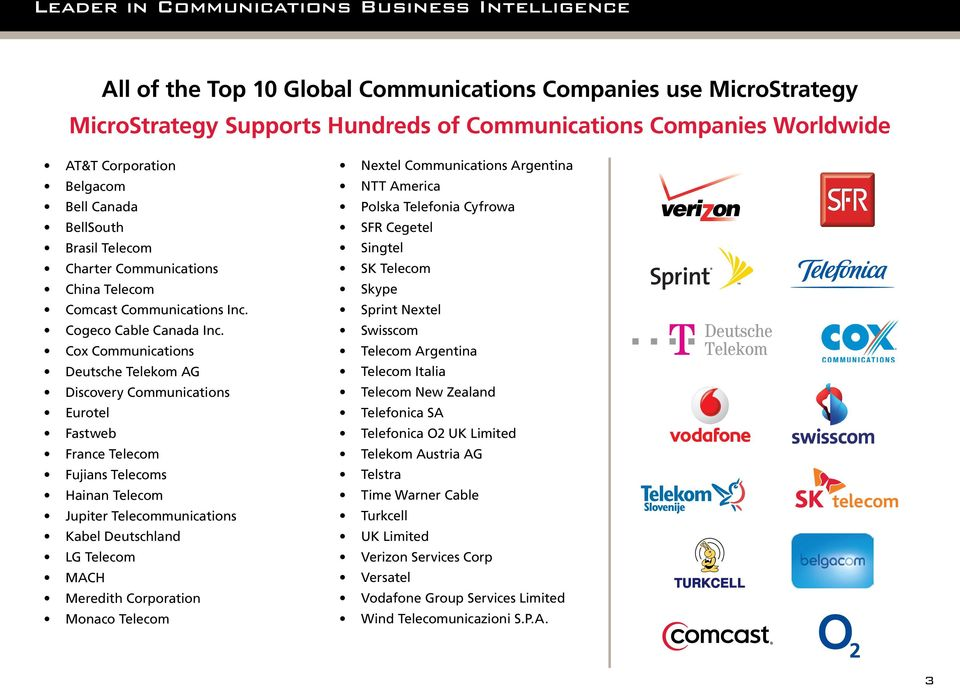 Cox Communications Deutsche Telekom AG Discovery Communications Eurotel Fastweb France Telecom Fujians Telecoms Hainan Telecom Jupiter Telecommunications Kabel Deutschland LG Telecom MACH Meredith