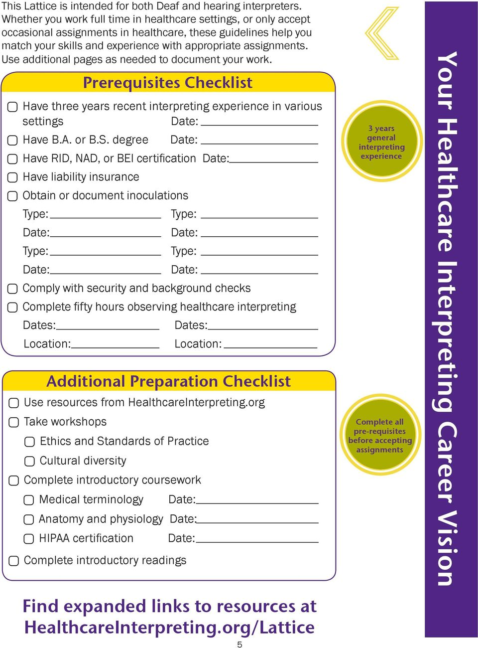 Use additional pages as needed to document your work. Prerequisites Checklist Have three years recent interpreting experience in various settings Have B.A. or B.S.
