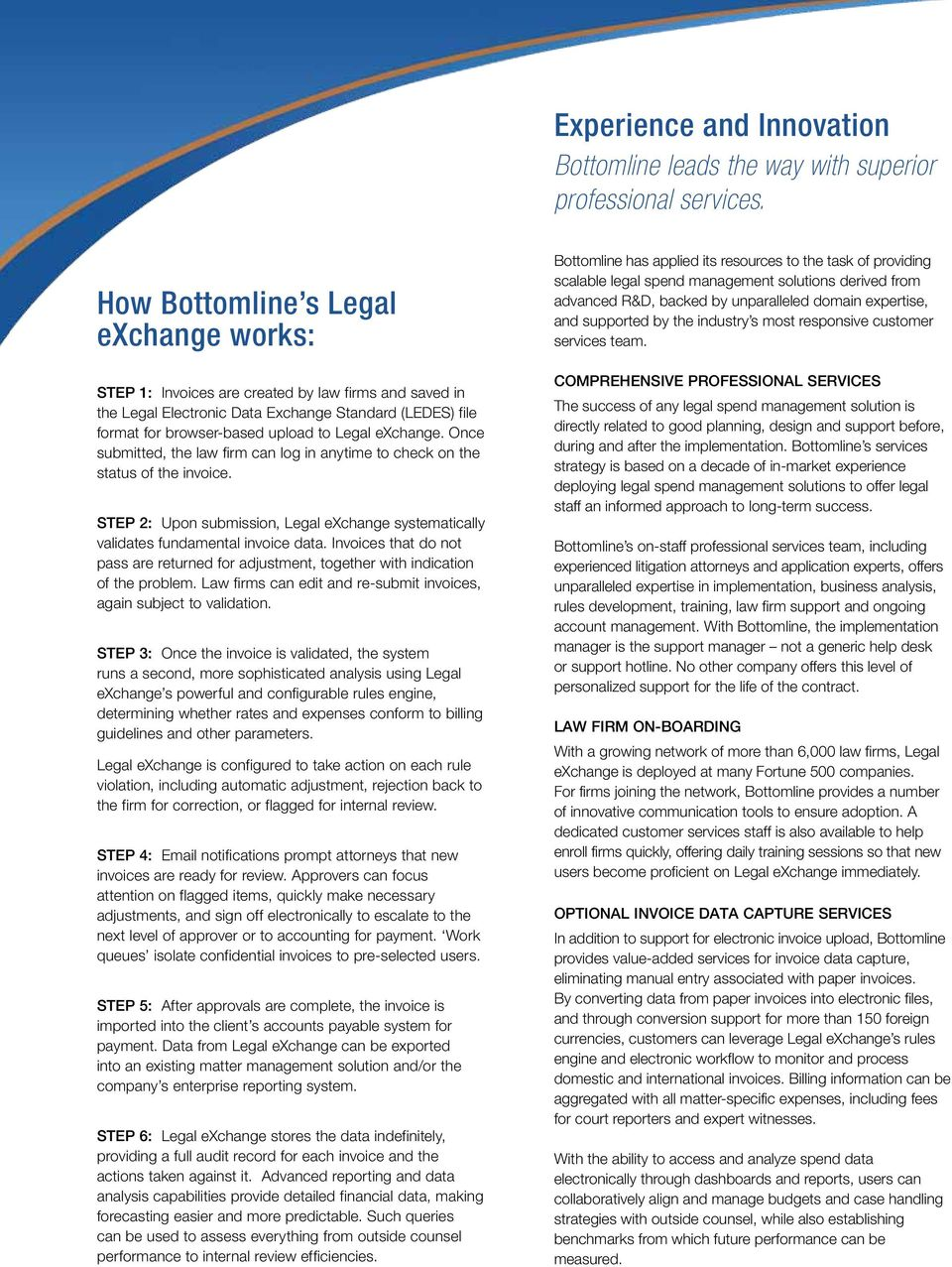 exchange. Once submitted, the law firm can log in anytime to check on the status of the invoice. Step 2: Upon submission, Legal exchange systematically validates fundamental invoice data.