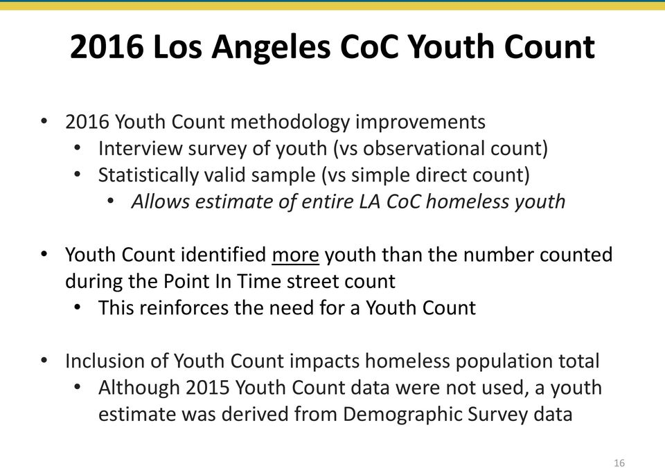 youth than the number counted during the Point In Time street count This reinforces the need for a Youth Count Inclusion of Youth