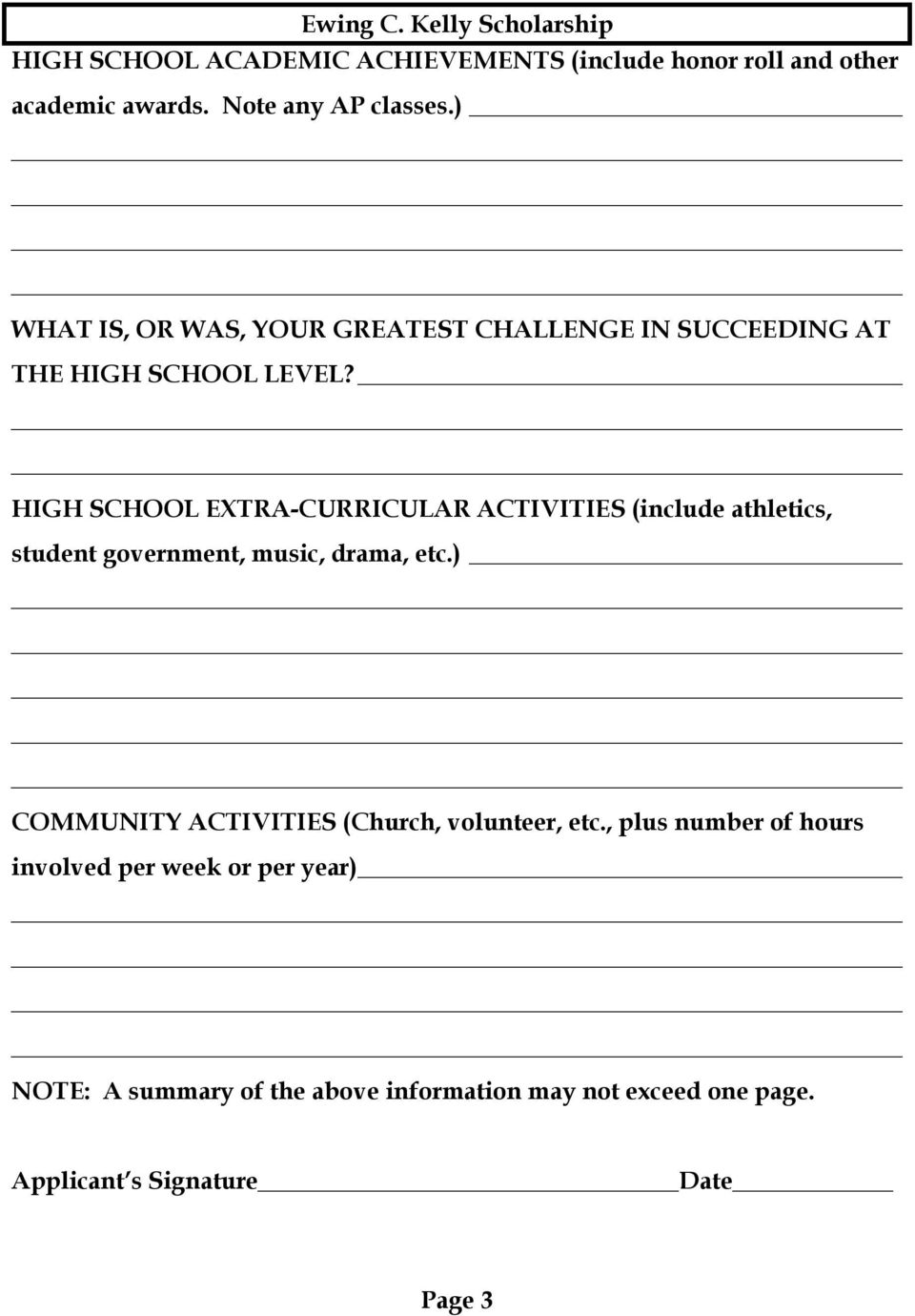 HIGH SCHOOL EXTRA-CURRICULAR ACTIVITIES (include athletics, student government, music, drama, etc.