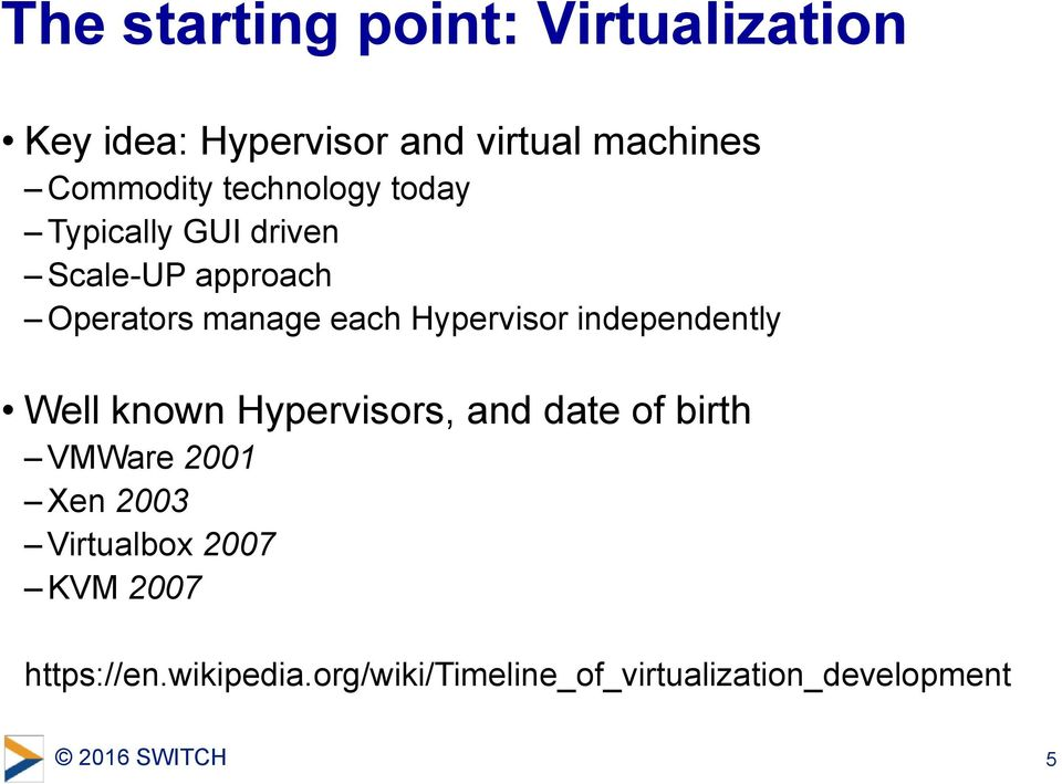 Hypervisor independently Well known Hypervisors, and date of birth VMWare 2001 Xen