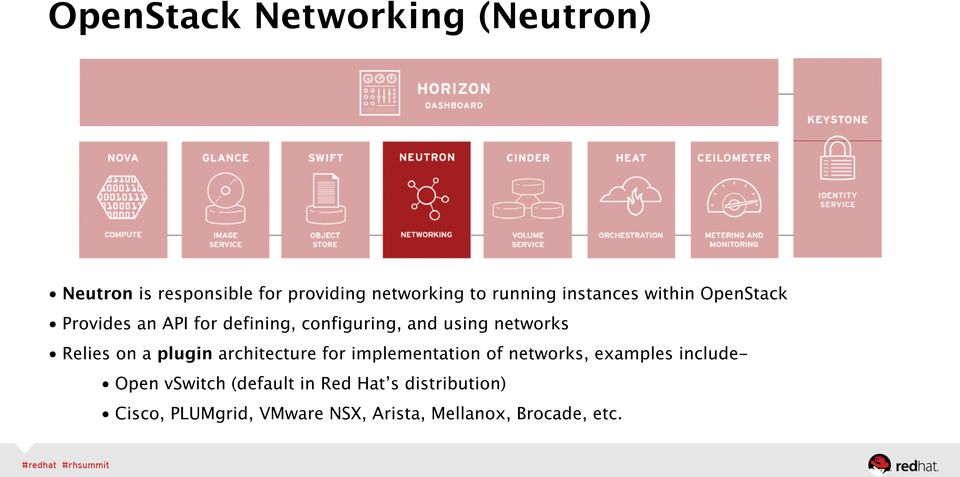 Relies on a plugin architecture for implementation of networks, examples include- Open