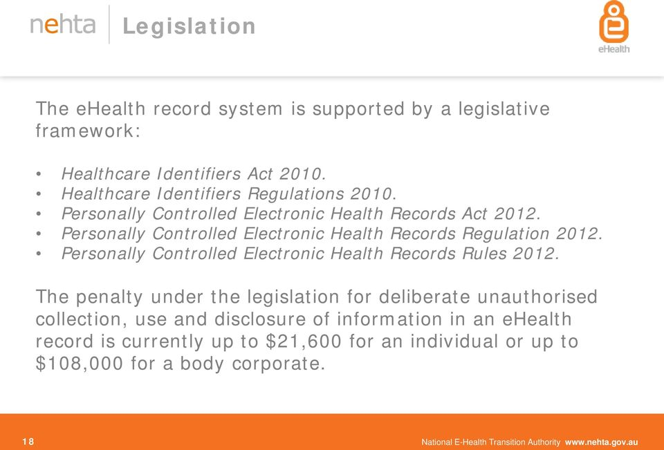 Personally Controlled Electronic Health Records Rules 2012.