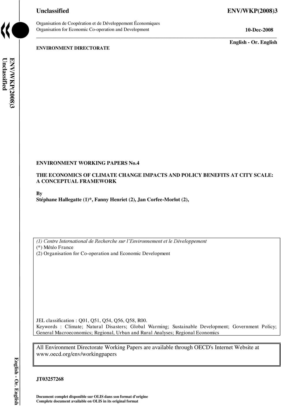 English ENVIRONMENT DIRECTORATE ENVIRONMENT WORKING PAPERS No.
