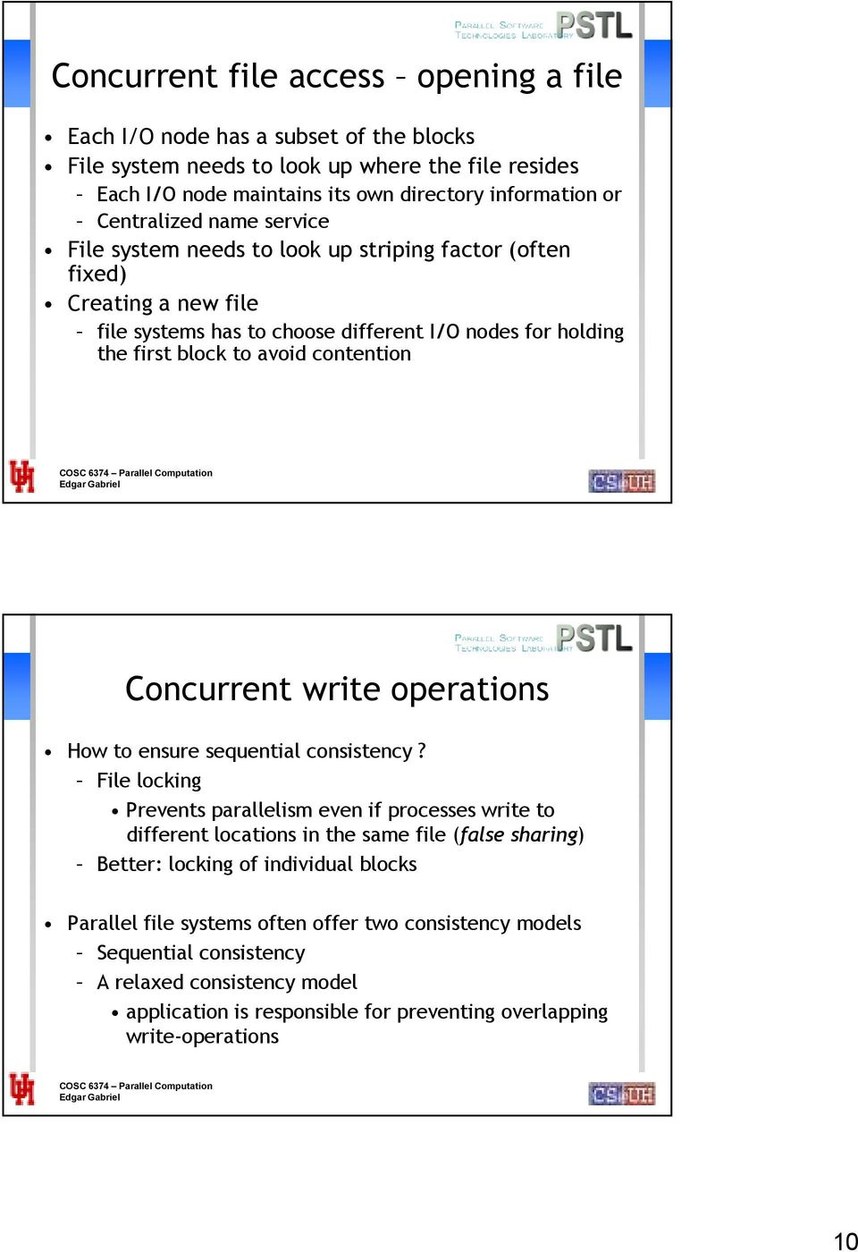 contention Concurrent write operations How to ensure sequential consistency?
