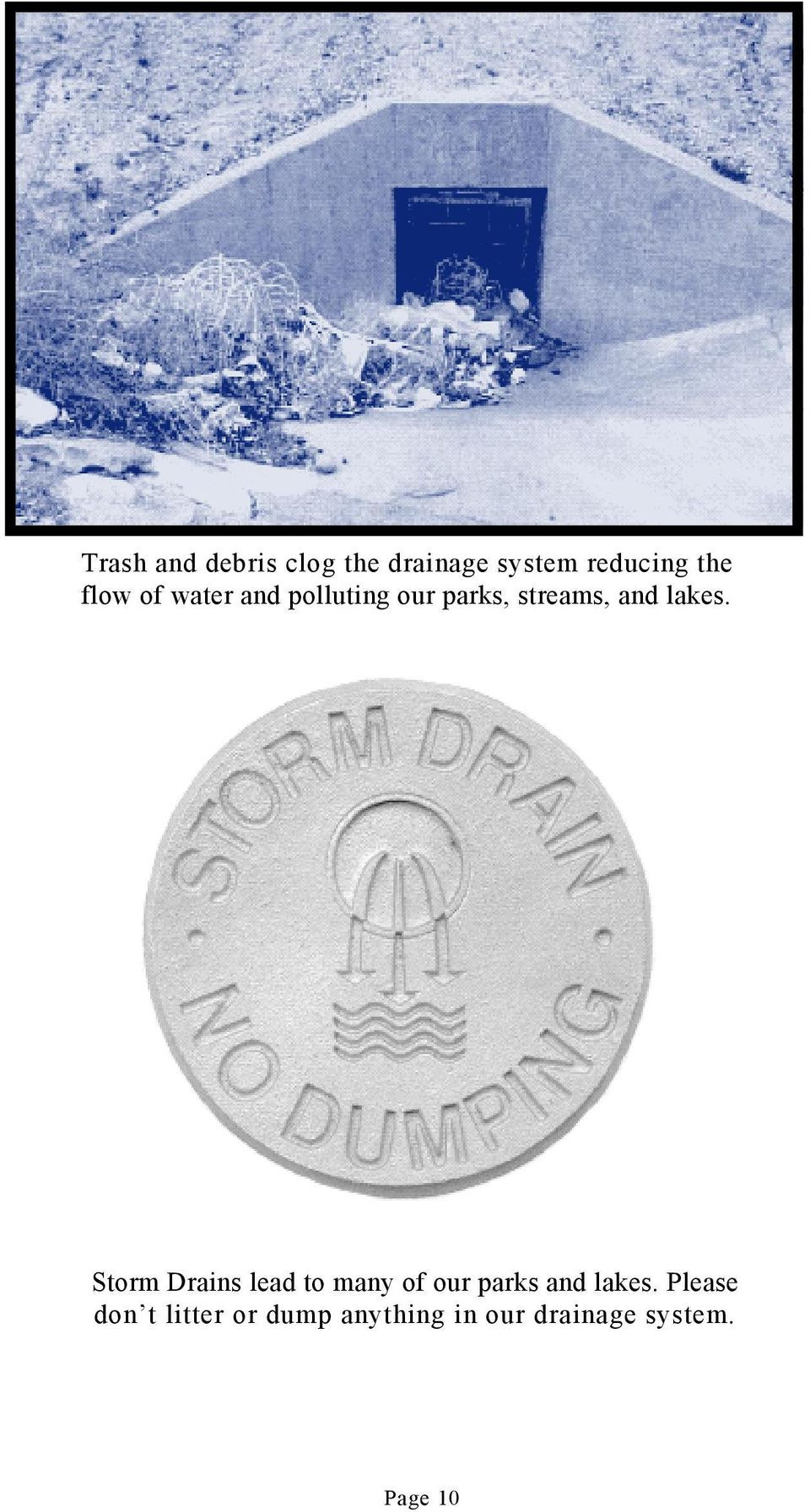 Storm Drains lead to many of our parks and lakes.