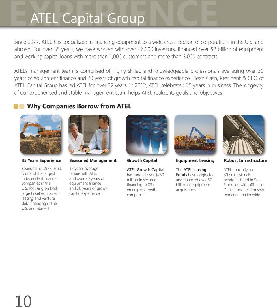 ATEL s management team is comprised of highly skilled and knowledgeable professionals averaging over 30 years of equipment finance and 20 years of growth capital finance experience.