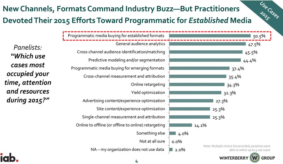 Programmatic media buying for established formats General audience analytics Cross channel audience identification/matching Predictive modeling and/or segmentation Programmatic media buying for