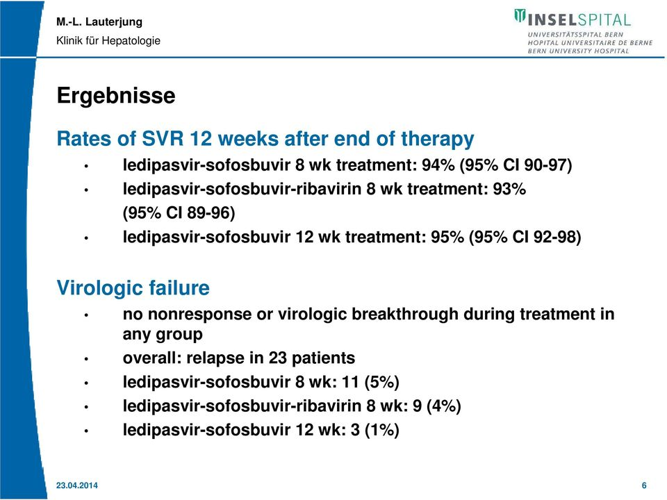 92-98) Virologic failure no nonresponse or virologic breakthrough during treatment in any group overall: relapse in 23