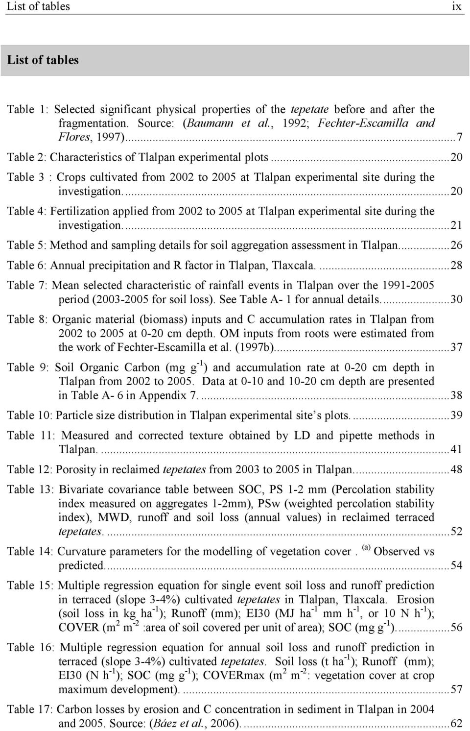 ..20 Table 3 : Crops cultivated from 2002 to 2005 at Tlalpan experimental site during the investigation.